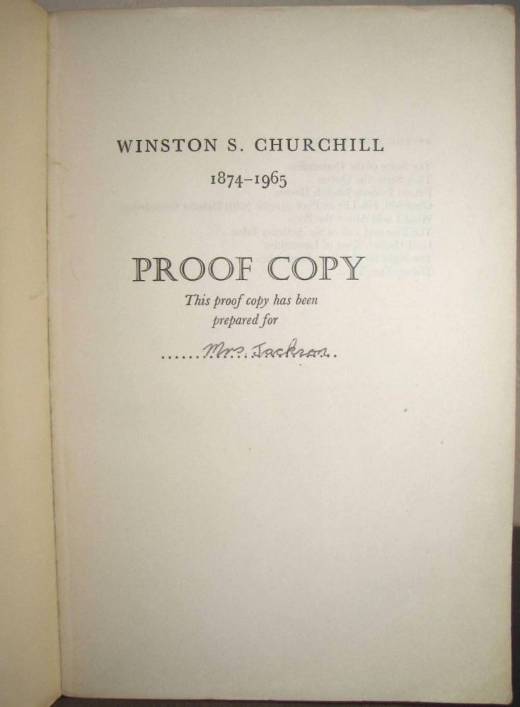 Winston S. Churchill, The Official Biography, Volume I, Youth 1874-1900, PROOF COPY. Randolph S. Churchill.