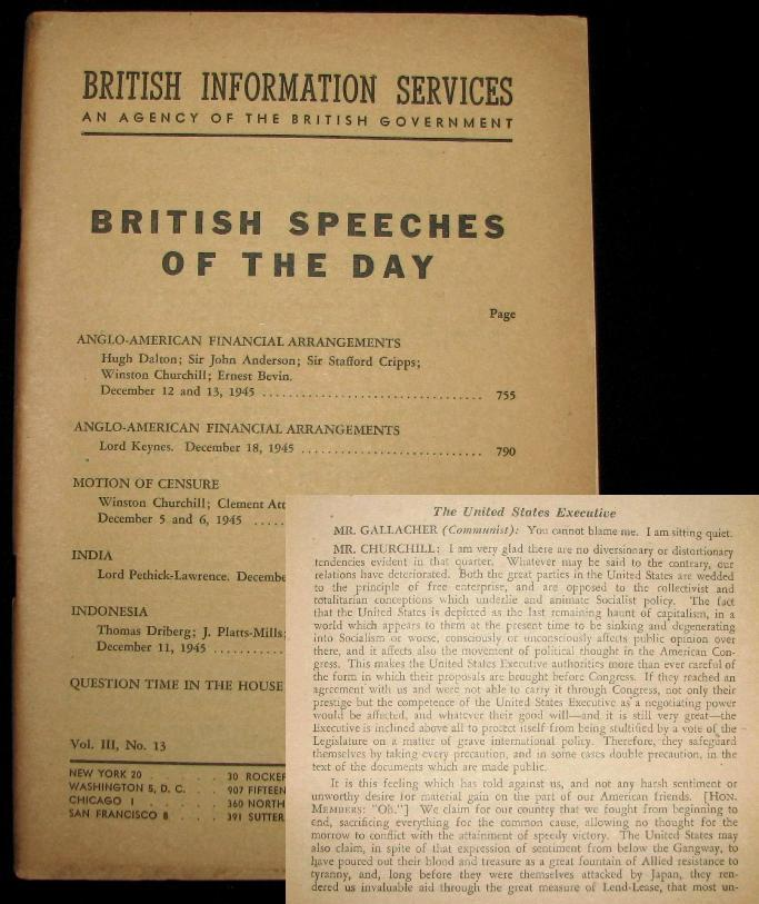 Anglo-American Financial Arrangements, a Speech by Winston Churchill to the House of Commons on 13 December 1945, printed in British Speeches of the Day, Vol. III, No. 13. Winston S. Churchill.