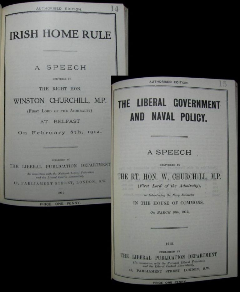 Two speech pamphlets: Irish Home Rule delivered 8 February 1912 and The Liberal Government and Naval Policy delivered 18 March 1912. Winston S. Churchill.