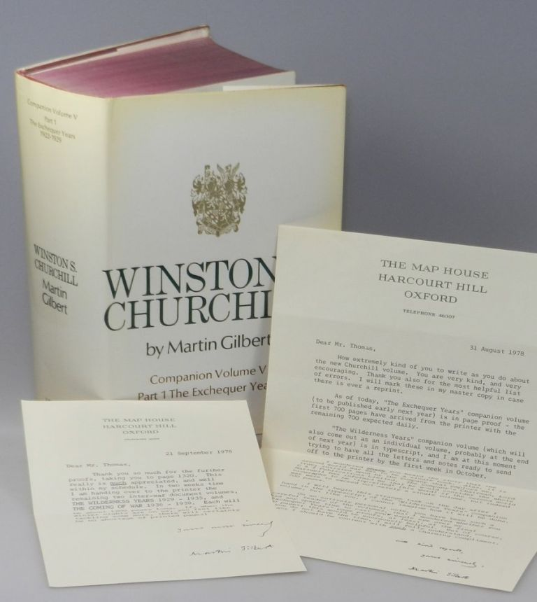 Winston S. Churchill, The Official Biography, Companion Volume V, Part 1, The Exchequer Years 1922 - 1929, with two typed and signed letters by the author to his proof reader. Martin Gilbert.