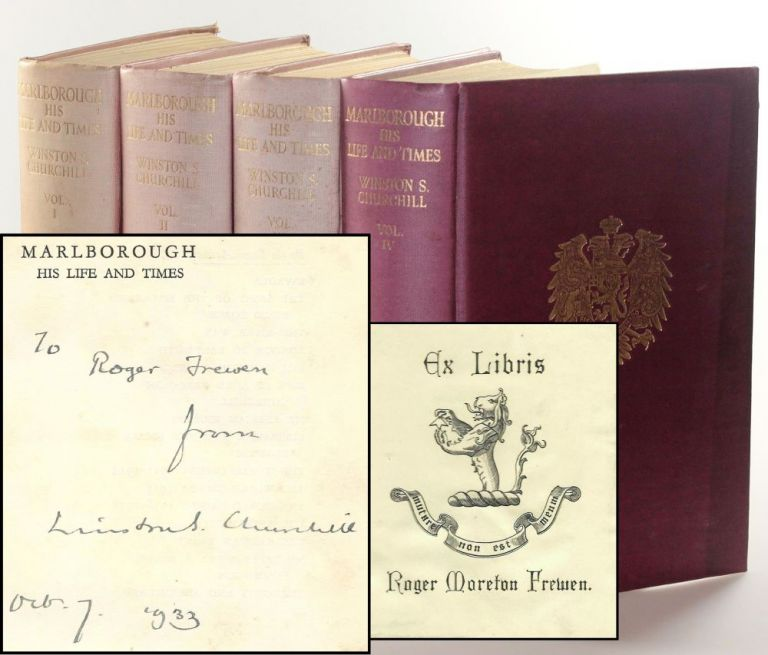 Marlborough: His Life and Times, a full set of British first editions, inscribed and dated in Volume I to Churchill's godson the day after publication. Winston S. Churchill.