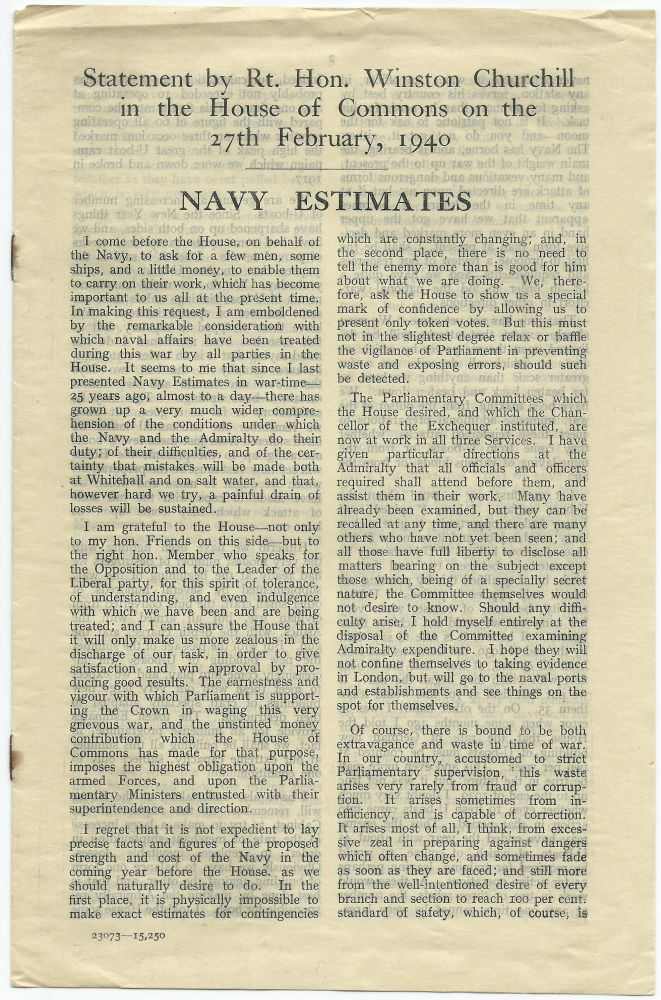 Navy Estimates: Statement by the Rt. Hon. Winston Churchill in the House of Commons on the 27th February, 1940. Winston S. Churchill.