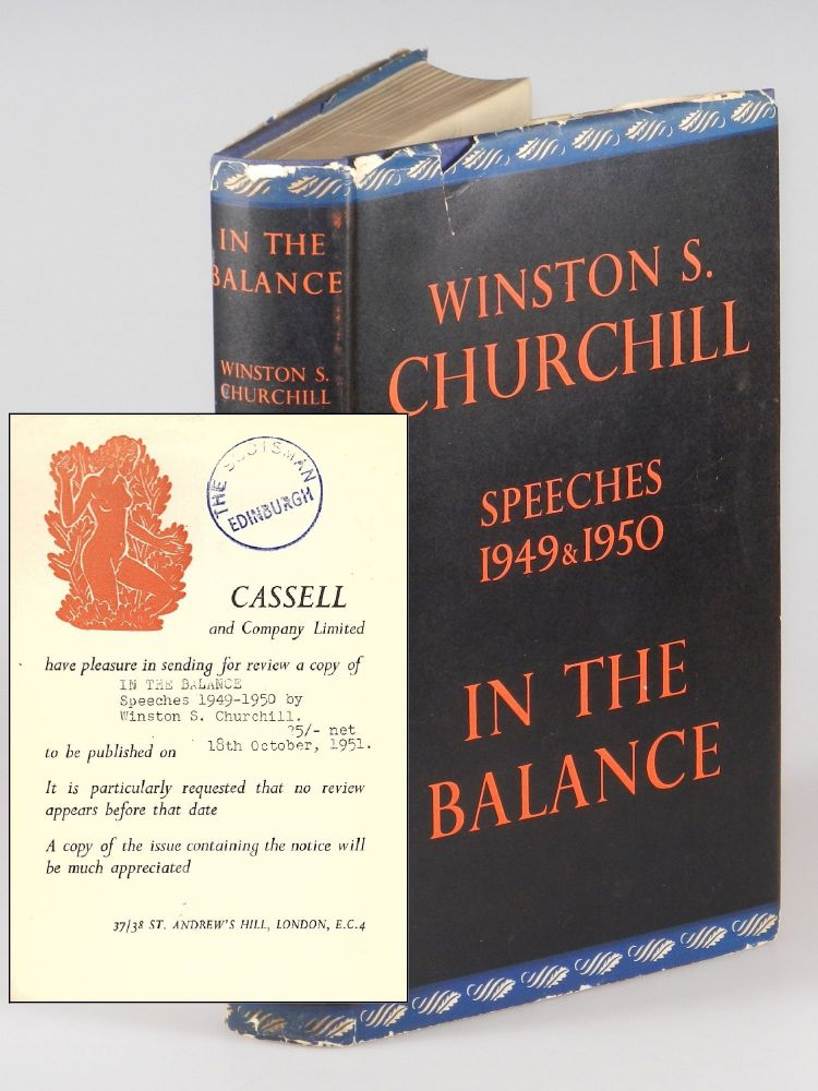 In the Balance, a pre-publication publisher's review copy for The Scotsman, the national newspaper of Scotland. Winston S. Churchill.