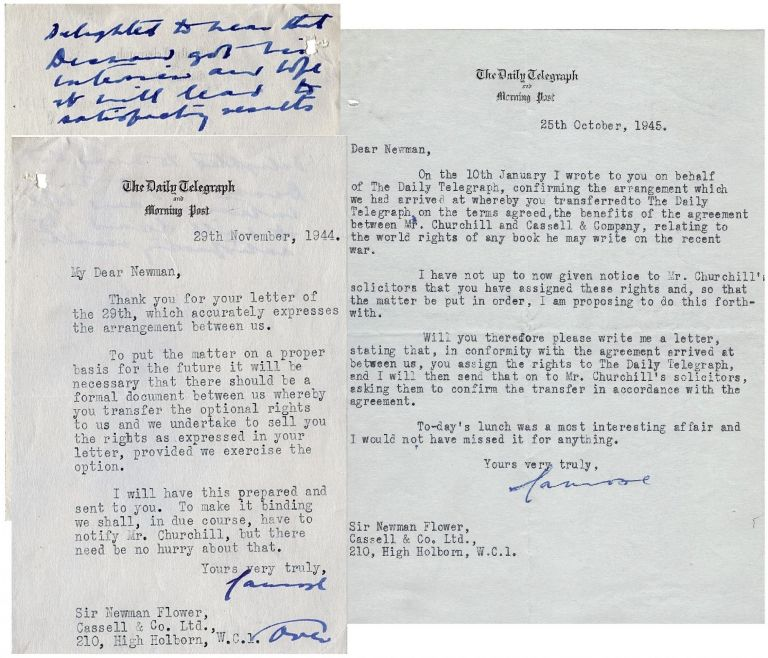 """Two typed, signed letters dated 29 November 1944 and 25 October 1945 from Lord Camrose to Sir Walter Newman Flower regarding """"the greatest coup of twentieth century publishing"""" - the rights to publish Winston S. Churchill's eventual history of the Second World War. first Viscount Camrose William Ewart Berry."""