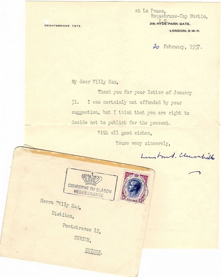 20 February 1957 typed signed letter from Churchill to his friend and paint supplier, Willy Sax, with its original, franked envelope. Winston S. Churchill.