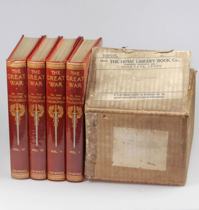 The Great War (Home Library binding, 4 volumes complete) in the publisher's original shipping box and previously unconfirmed publisher's dust jackets. Winston S. Churchill.