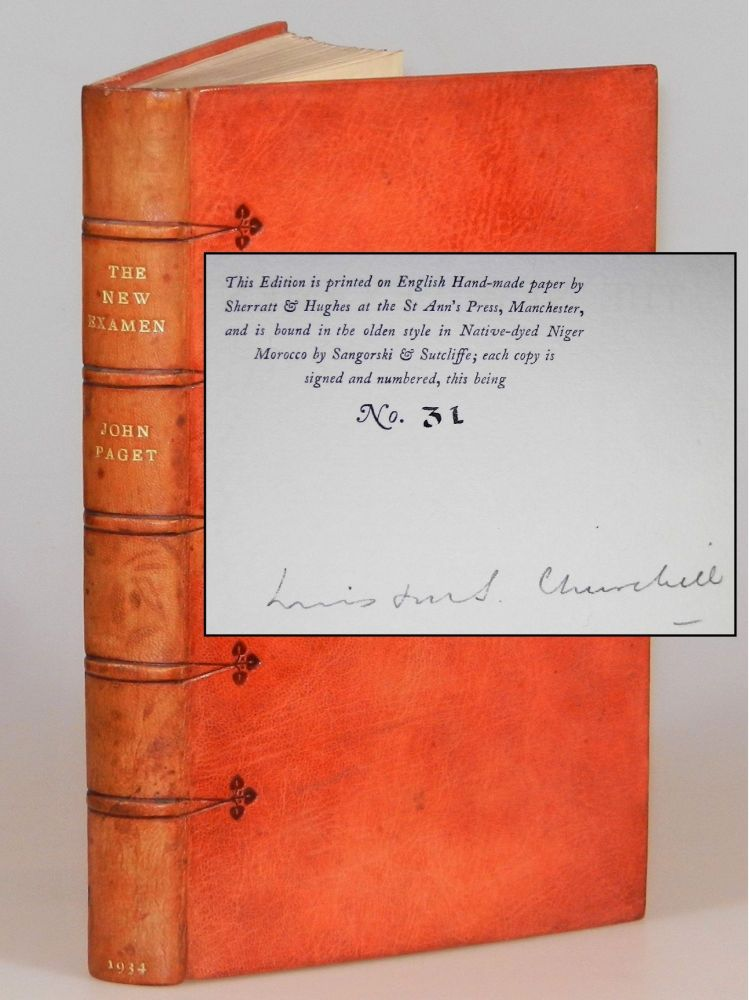 The New Examen, the publisher's Limited Edition, signed by Winston Churchill, bound by Sangorski & Sutcliffe, copy 31 of 50. John Paget, a Critical, Winston S. Churchill.