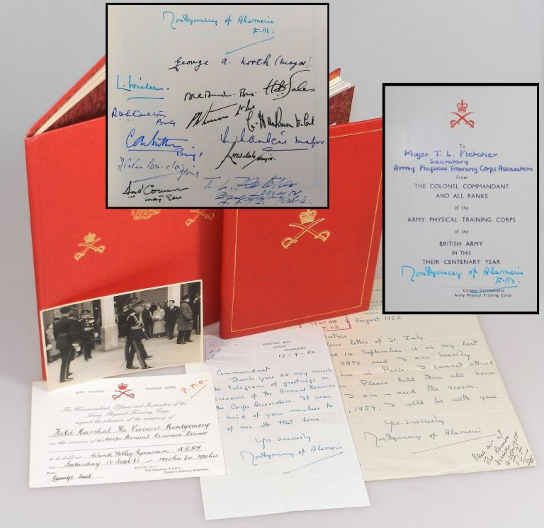 A 1958-1962 Archive of the Centenary of the British Army's Physical Training Corps at Aldershot, spanning Field Marshal Bernard Law Montgomery's final years as Colonel Commandant, comprising two commemorative books signed by Montgomery, two holograph signed letters from Montgomery, an invitation bearing Montgomery's autograph, and a vintage photograph of Montgomery in Aldershot for the Centenary. 1st Viscount Montgomery of Alamein Field Marshal Bernard Law Montgomery.
