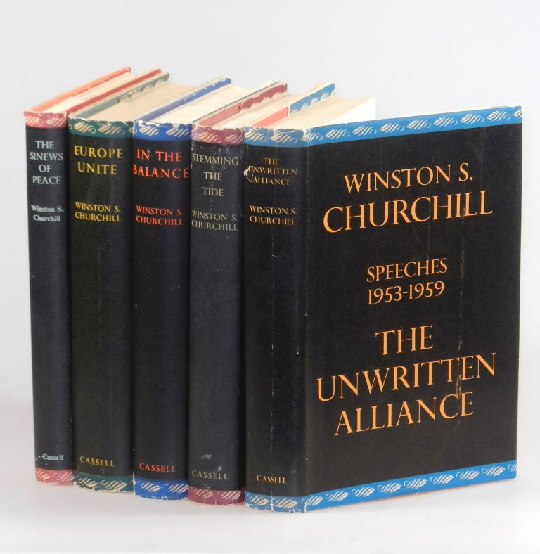The Postwar Speeches, a full set of jacketed first editions: The Sinews of Peace, Europe Unite, In the Balance, Stemming the Tide, and The Unwritten Alliance. Winston S. Churchill.
