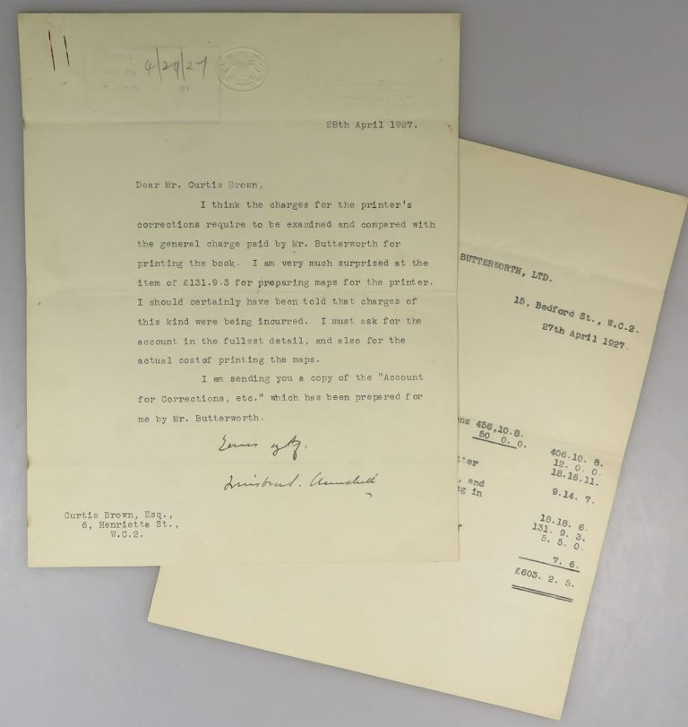 28 April 1927 Typed Signed Letter from Winston S. Churchill on Chancellor of the Exchequer stationery to literary agent Curtis Brown (whose firm continues to represent the Churchill family to this day) regarding costs associated with printing The World Crisis. Winston S. Churchill.