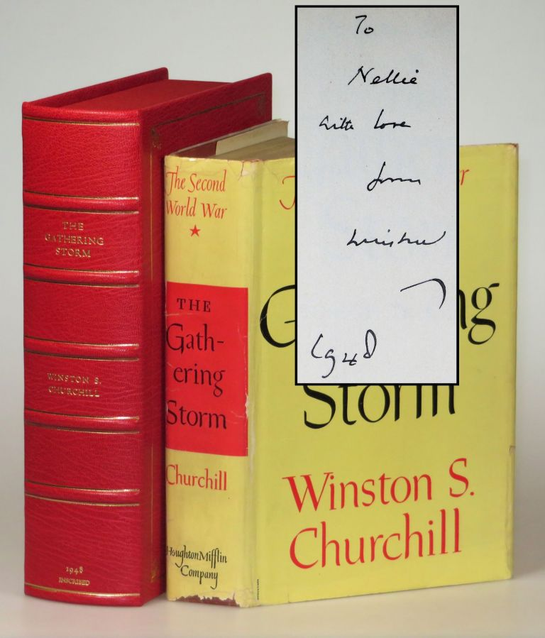 The Gathering Storm, the first volume of Churchill's history of the Second World War, warmly inscribed in the year of publication to his sister-in-law, who lost her youngest son in action and whose older son spent most of the war as a POW before his daring escape. Winston S. Churchill.