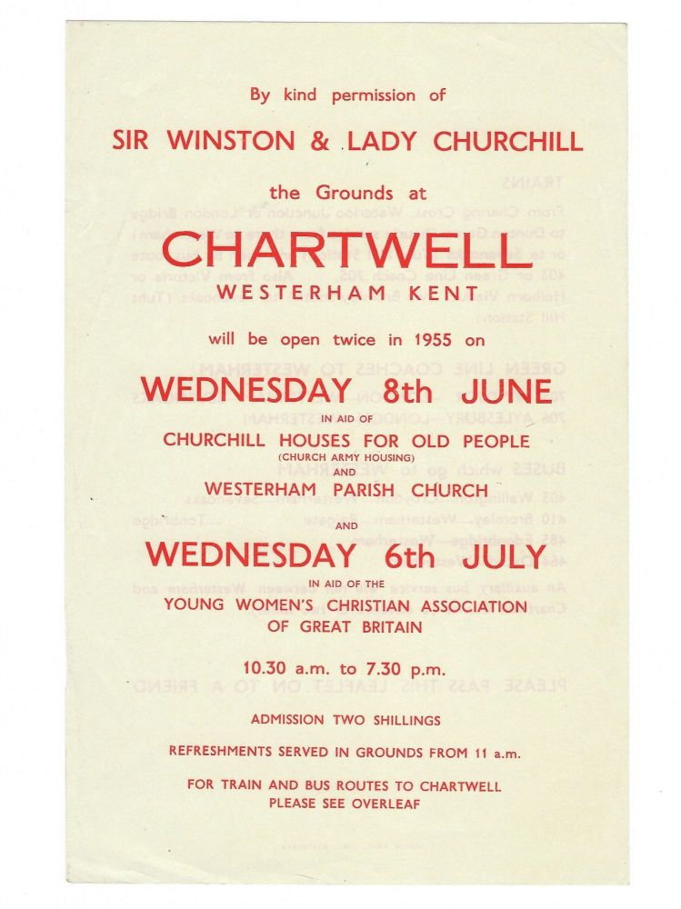 Original 1955 leaflet advertising charity events on the grounds at Chartwell, the home of Sir Winston & Lady Churchill