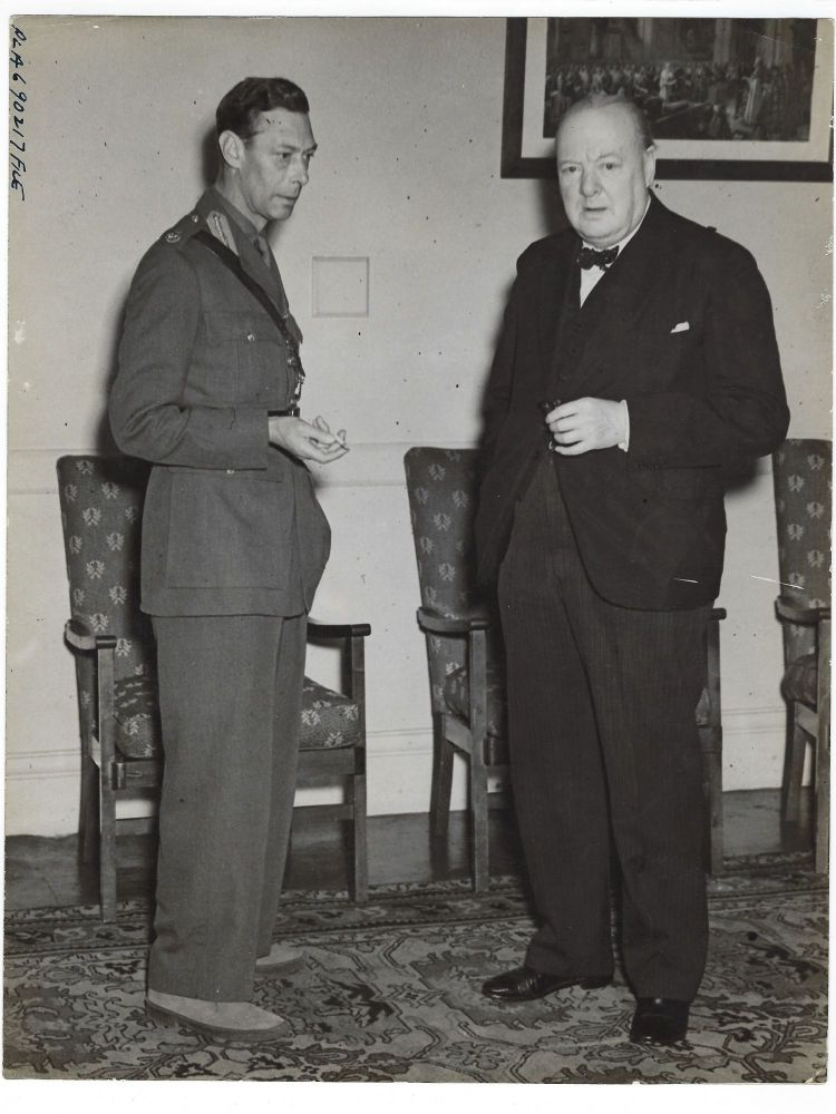 Second World War Air Ministry photograph of King George VI and Prime Minister Winston S. Churchill taken at a British Royal Air Force station on 25 June 1943