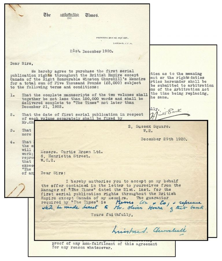 Signed and annotated 29 December 1920 typed letter from Winston S. Churchill to his literary agent, Curtis Brown, authorizing serialization of Churchill's history of the First World War by The Times, accompanied by a 21 December 1920 letter from The Times setting forth the terms and conditions of the agreement. Winston S. Churchill.