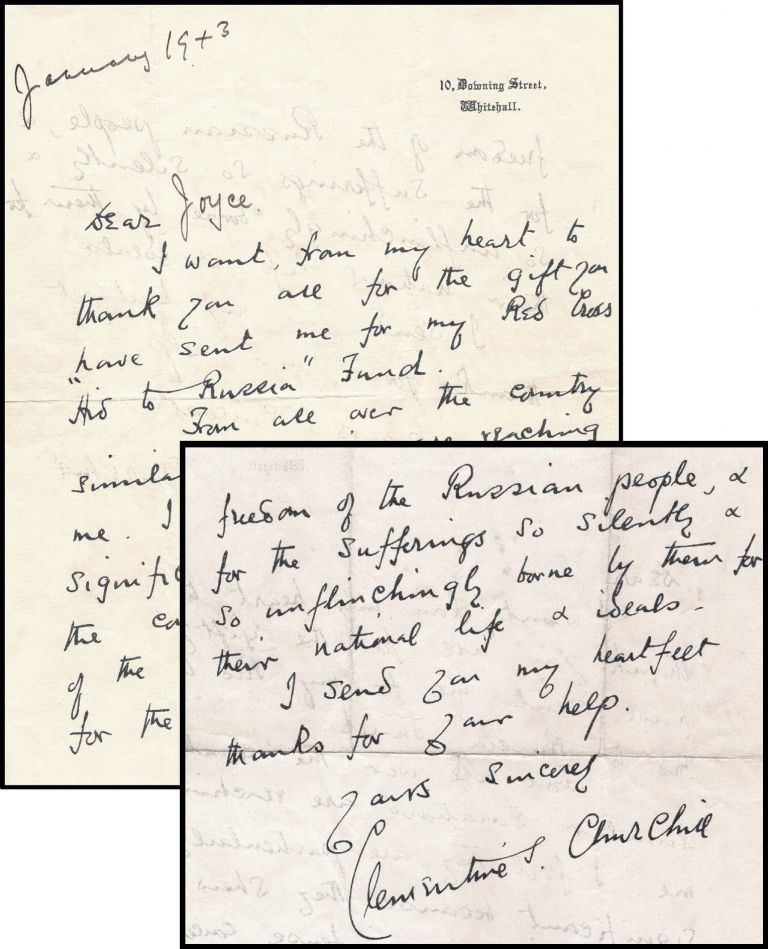 A January 1943 wartime facsimile autograph letter from Clementine Churchill on 10 Downing Street stationary, with holograph date and salutation, thanking a donor for their contribution to the Red Cross Aid to Russia Fund. Clementine Churchill.