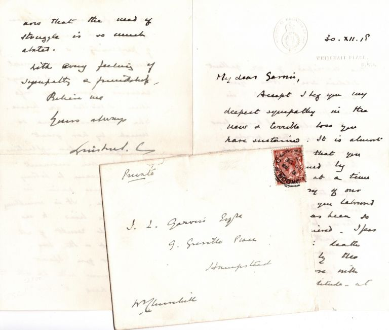"""Alas you have indeed suffered in this fearful convulsion of the world"" - A strikingly poignant 30 December 1918 autograph letter signed by then-Minister of Munitions Winston S. Churchill to Editor James Louis Garvin, who lost both his only son and his wife during the First World War. Winston S. Churchill."