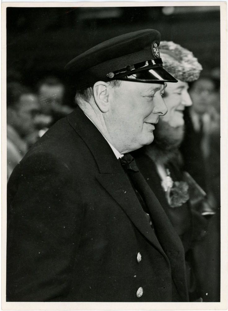 An original wartime press photograph of Prime Minister Winston S. Churchill and his wife, Clementine, on 19 August 1941, taken upon Churchill's return from the Atlantic Charter Conference with President Franklin D. Roosevelt