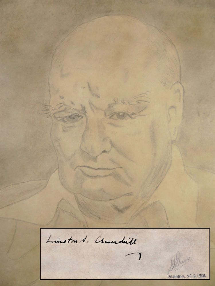 An original drawing of Sir Winston S. Churchill by the head chef of Blenheim Palace, signed by Churchill during his 50th engagement anniversary celebration at Blenheim Palace in June 1958. Daniel Emile Dunas.