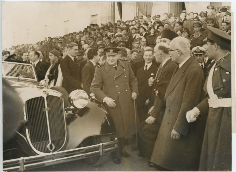 An original wartime press photograph of Prime Minister Winston S. Churchill and Foreign Secretary Anthony Eden arriving in Athens on 14 February 1945, just after the Yalta Conference and the signing of the Treaty of Varkiza