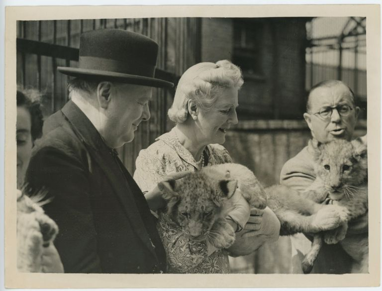 An original wartime press photograph of Prime Minister Winston S. Churchill and Clementine Churchill on 26 July 1943 visiting the cubs of Rota, the lion gifted to Churchill