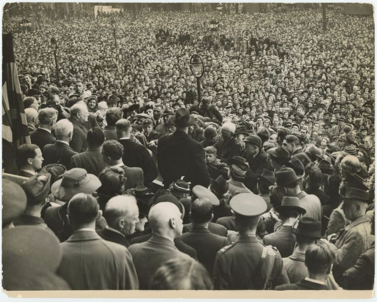 """""""Now we see the ridge ahead"""" - an original wartime press photograph of Prime Minister Winston S. Churchill on 16 May 1942 delivering a speech amidst a huge crowd at Leeds presaging the turning point of the Second World War just after the second anniversary of his wartime premiership"""