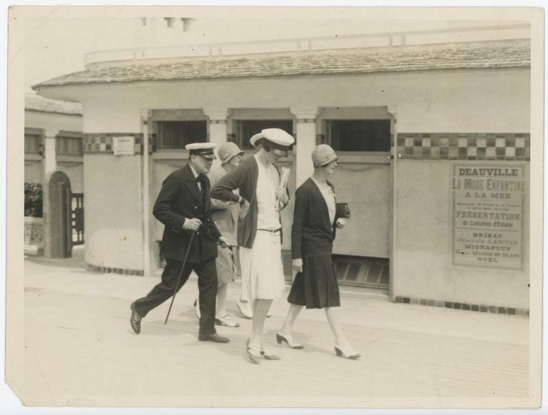 An original press photograph of Winston S. Churchill, then Chancellor of the Exchequer, on holiday in Deauville, France on 1 August 1927