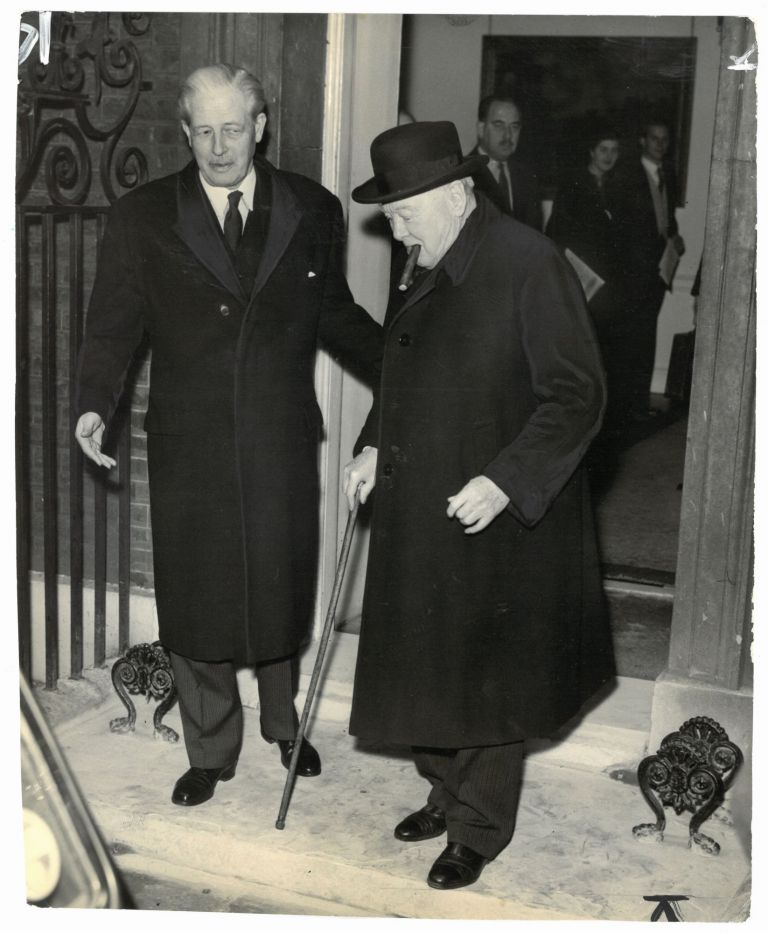 An original press photo of Sir Winston S. Churchill and Prime Minister Harold Macmillan at 10 Downing Street on 9 December 1958