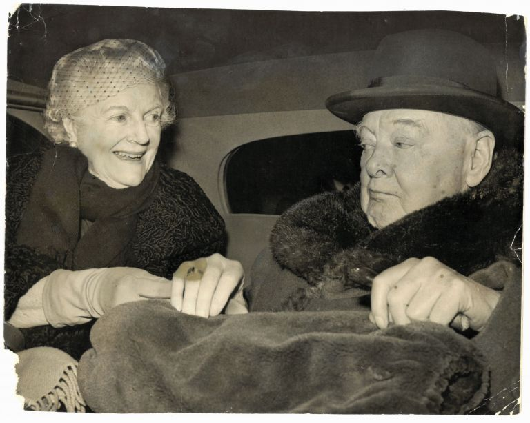 An original press photo of Sir Winston S. Churchill and Lady Clementine Churchill on 10 February 1960, just returned from Monte Carlo and being driven from London Airport to their Hyde Park Gate Home