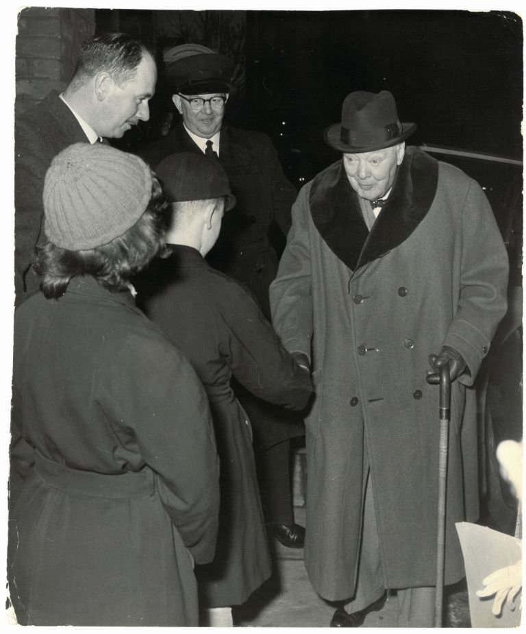 An original press photo of Sir Winston S. Churchill meeting the children of his bodyguard on 25 February 1961