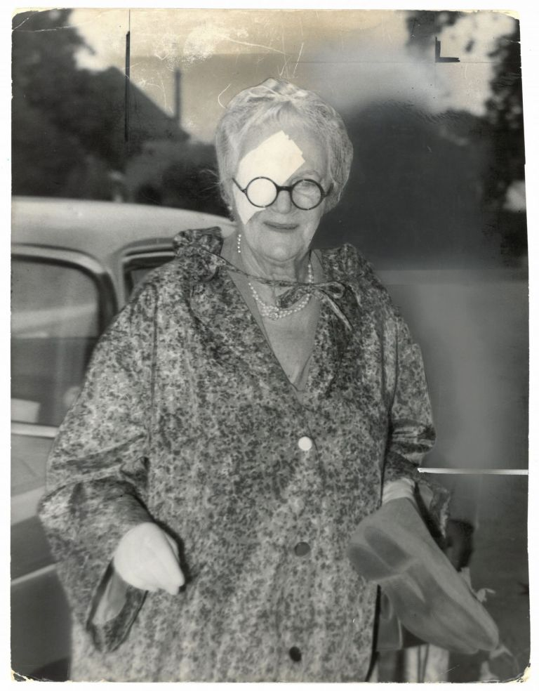 An original press photo of Lady Clementine Churchill wearing an eyepatch, published on 1 September 1959