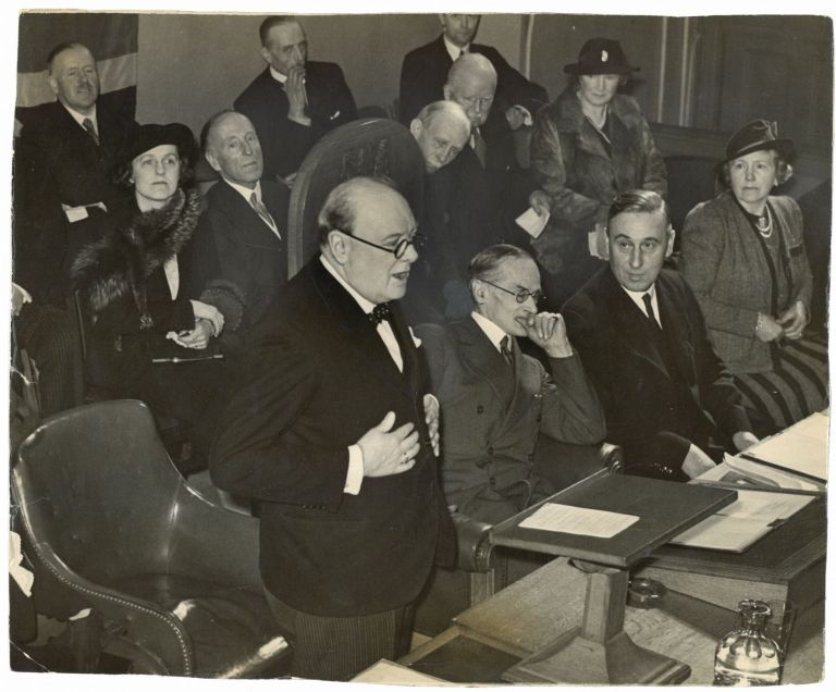 An original wartime press photograph of Prime Minister Winston S. Churchill speaking at the 27 March 1941 Conservative and Unionist Associations Central Council Meeting in London