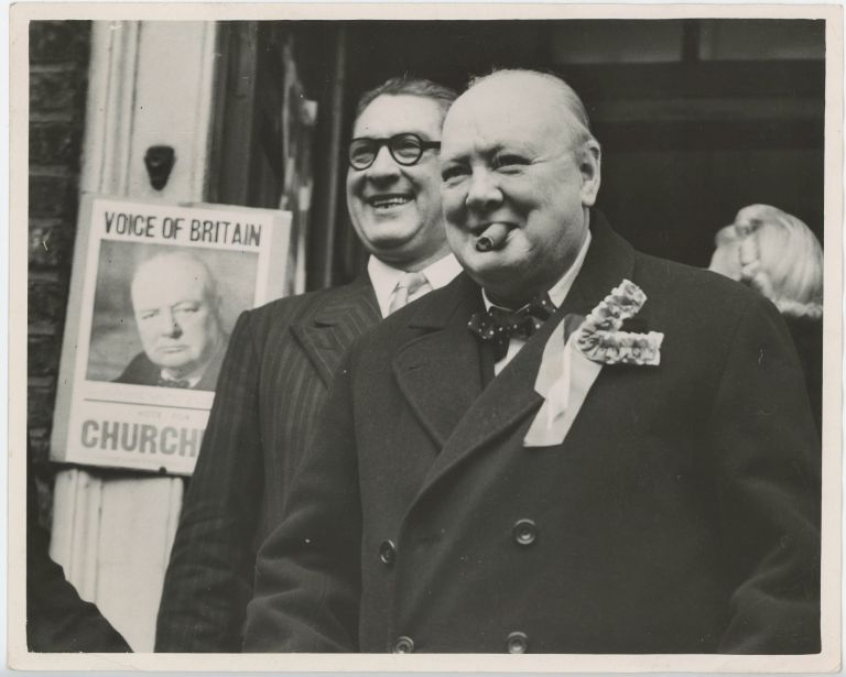 Churchill in two Moods - an original press photograph of Winston S. Churchill on an election tour of his Woodford constituency on 23 February 1950, the day of the 1950 General Election