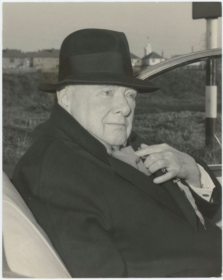 THE OLD WARRIOR - An original press photograph of Sir Winston S. Churchill on 6 October 1959 campaigning for the 1959 General Election, the last of his long political career