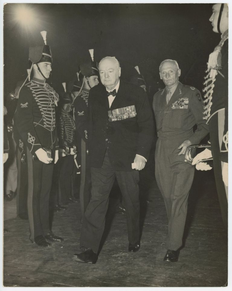 EL ALAMEIN RE-UNION - An original press photograph of Winston S. Churchill and Field Marshal Montgomery at the El Alamein Reunion on 19 October 1951, a week before Churchill returned to 10 Downing Street for his second and final premiership