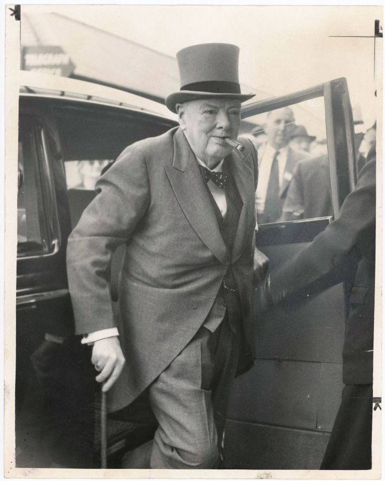 An original press photo of Sir Winston S. Churchill arriving at Epsom Downs to attend the horse races on 2 June 1960