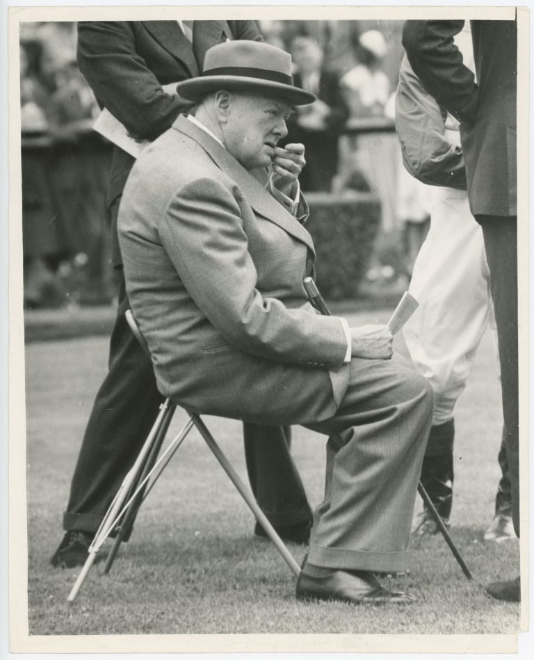 An original press photo of Sir Winston S. Churchill at Sandown Park