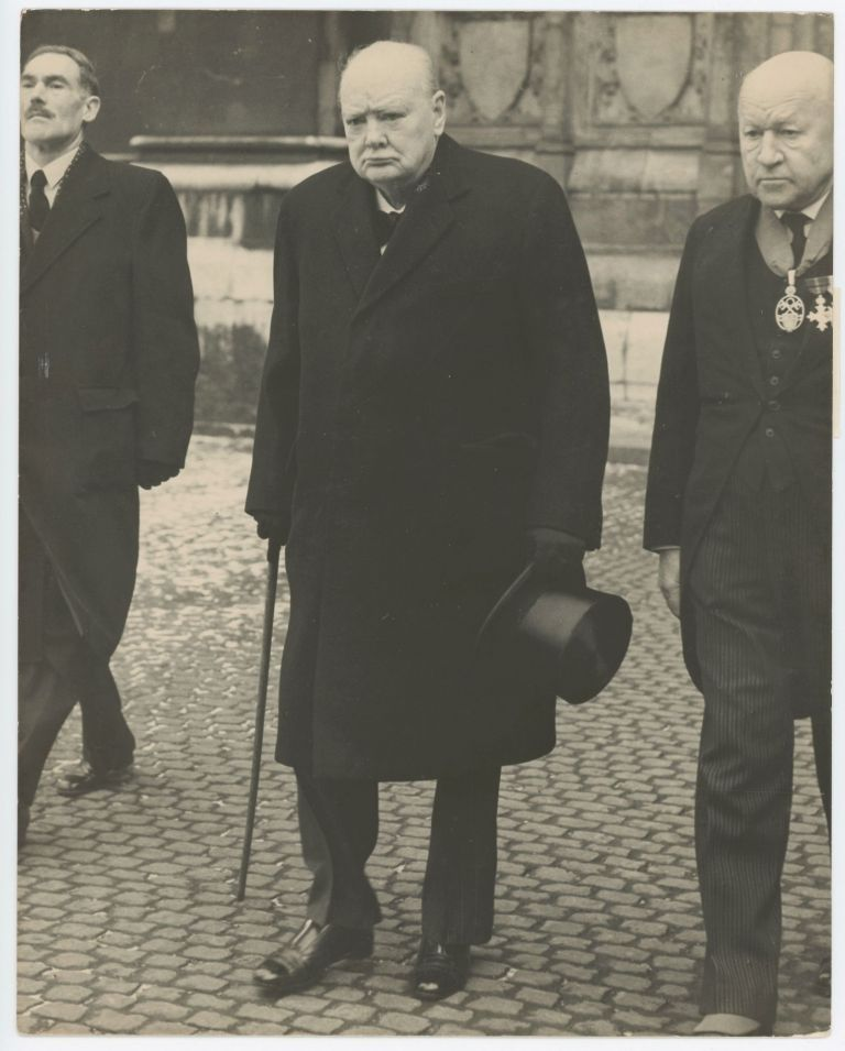 "An original press photo of Sir Winston S. Churchill at the 21 February 1956 funeral of Lord Hugh Trenchard, the ""Father of the Royal Air Force"""