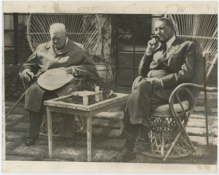 An original press photo of Sir Winston S. Churchill and former French President René Coty on 5 April 1959 at La Pausa in the South of France