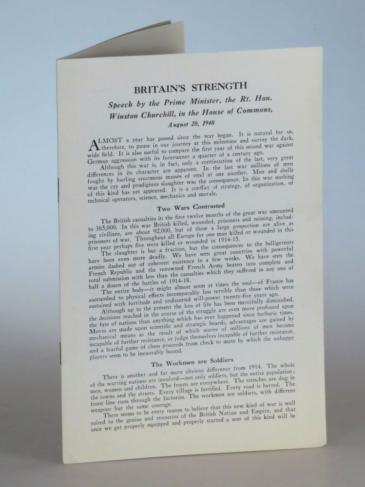 Britain's Strength: Speech by the Prime Minister, the Rt. Hon. Winston Churchill, in the House of...