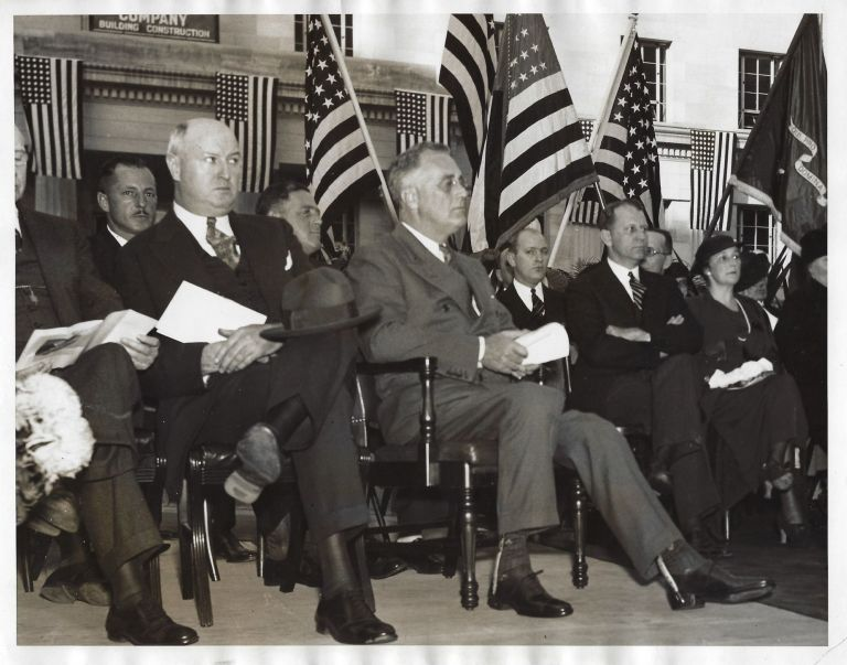 An original press photo of President Franklin Delano Roosevelt at a Washington D.C. Justice building dedication ceremony on 25 October 1934