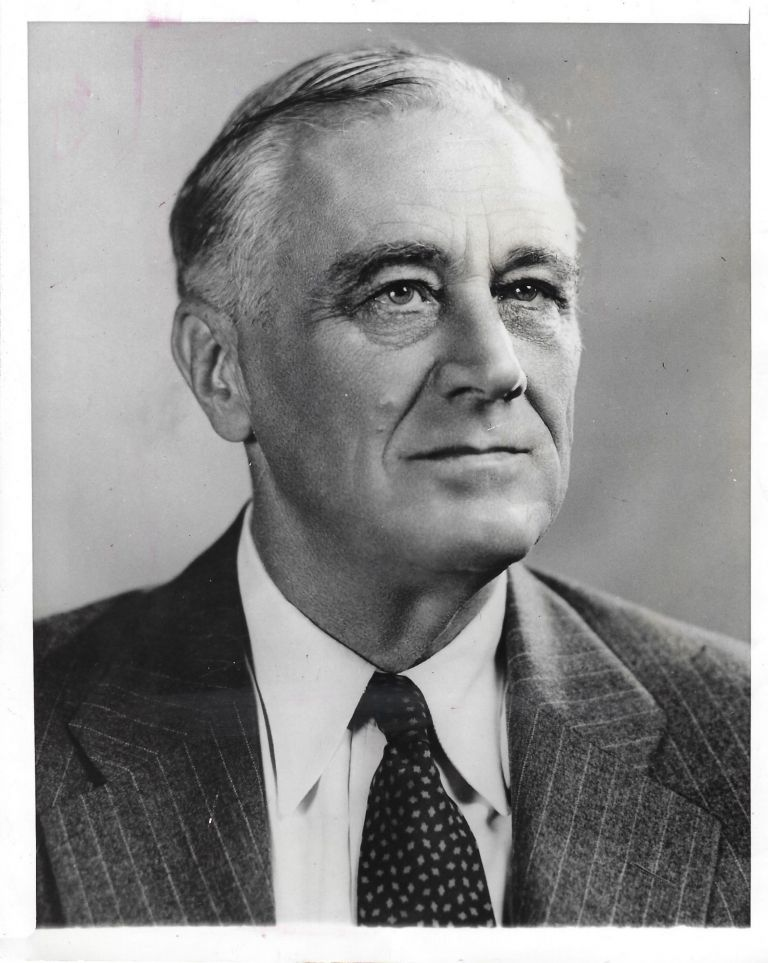 An original press copy of the official campaign portrait of Franklin Delano Roosevelt for his final presidential campaign taken by Leon Perskie at Hyde Park on 21 August 1944. Leon Perskie.