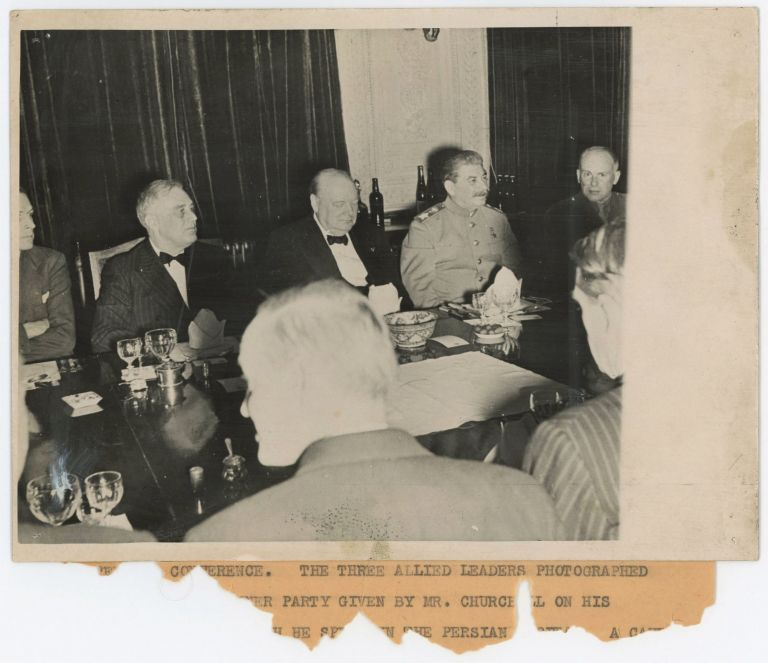 """An original wartime """"British Official Photograph"""" featuring U.S. President Franklin D. Roosevelt, Soviet Premier Joseph Stalin, and British Prime Minister Winston S. Churchill on Churchill's 69th birthday, 30 November 1943, at a dinner hosted by Churchill during the """"Big Three"""" Tehran Conference"""