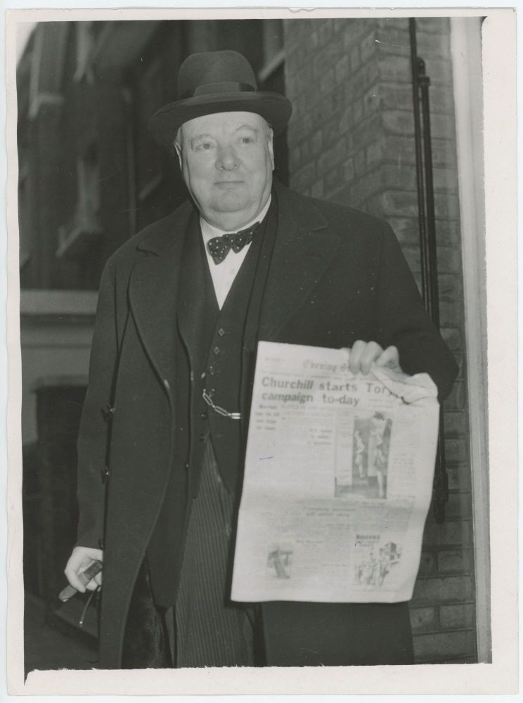 An original press photograph of Winston S. Churchill on 17 January 1950, the first day of his campaign for the 1950 General Election