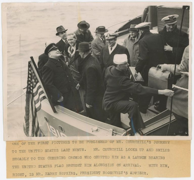 An original wartime press photograph of Winston S. Churchill arriving in New York in May 1943 after crossing the Atlantic for his Third Washington Conference with President Roosevelt