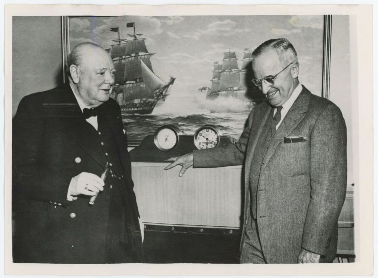 MR. CHURCHILL MEETS PRESIDENT TRUMAN ABOARD PRESIDENTIAL YACHT - an original press photo of Prime Minister Winston S. Churchill and President Harry Truman aboard the Presidential yacht Williamsburg on 5 January 1952