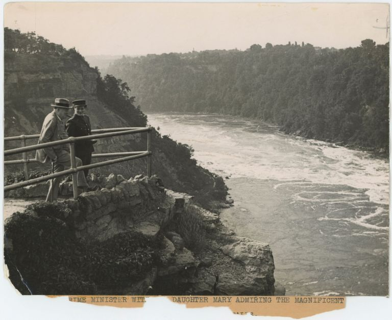 An original wartime press photograph of Prime Minister Winston S. Churchill and his daughter Mary at Thompson's Point on the Canadian side of Niagara Falls on 12 August 1943 while the two were in North America for the First Quebec Conference with President Roosevelt