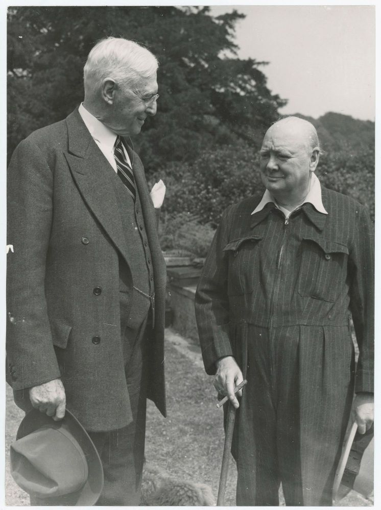 "An original press photograph of Winston S. Churchill and ""Park Bench Statesman"" Bernard Baruch, an old American friend and colleague, at Chartwell on 11 July 1949"