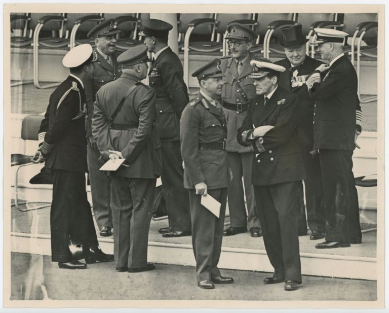 "THE ARCHITECTS OF VICTORY - an original press photograph capturing Winston S. Churchill, Admiral Lord Mountbatten, General Hastings Ismay, Field Marshal ""Jumbo"" Wilson, Air Marshal Lord Portal, Field Marshal Lord Alexander, General Lord Alanbrooke, and Admiral of the Fleet Lord Cunningham at the London Victory Celebrations on 8 June 1946"