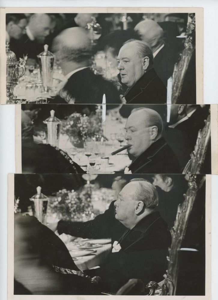 A unique photographic triptych of Prime Minister Winston Churchill from The Daily Telegraph archives comprising three wartime press photographs taken on 30 June 1943 at the luncheon held in his honor following his receipt of the Honorary Freedom of the City of London
