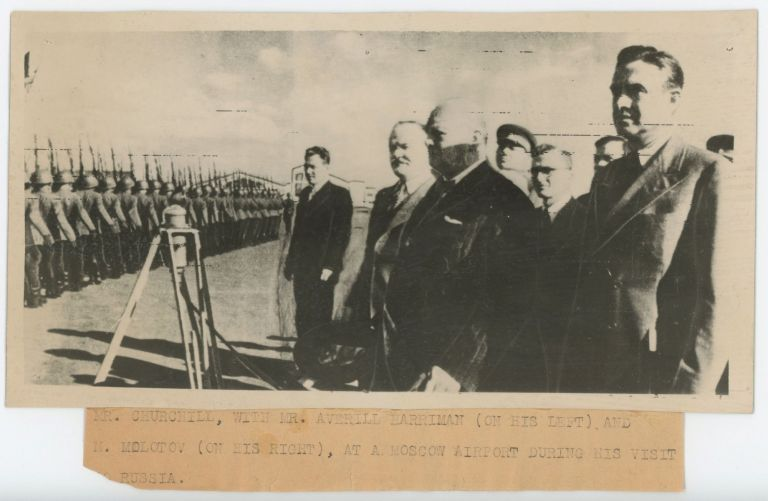An original wartime press photograph of Prime Minister Winston S. Churchill, U.S. Presidential Envoy Averell Harriman, and Soviet Foreign Affairs Minister Vyacheslav Molotov in Moscow on 12 August 1942